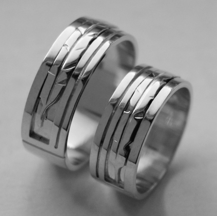 Silver Native American wedding rings eagle feather inlays