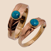 Native American turquoise eagle feather wedding rings