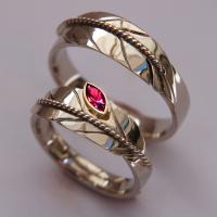 Bright With Flame Native American eagle feather wedding rings