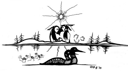 Wiidigemaaganag pen and ink drawing by Native Woodland artist Zhaawano Giizhik