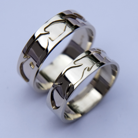 Native American white gold wedding rings